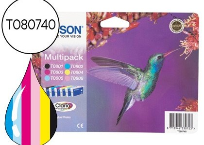 Cartucho para Epson T0807 pack de 6 colores